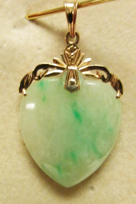 Vintage Estate 14kt Translucent Apple Green Jade Heart Pendant