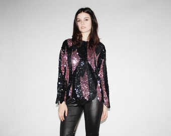 Vintage Black and Pink Disco Sequin Top -  Black and Pink Sequin Tops - The Trixie Blouse  - 1046