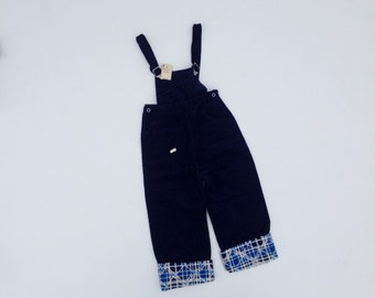 Vintage 1950s Overalls / Deadstock Corduroy with Plaid Lining / Size 5