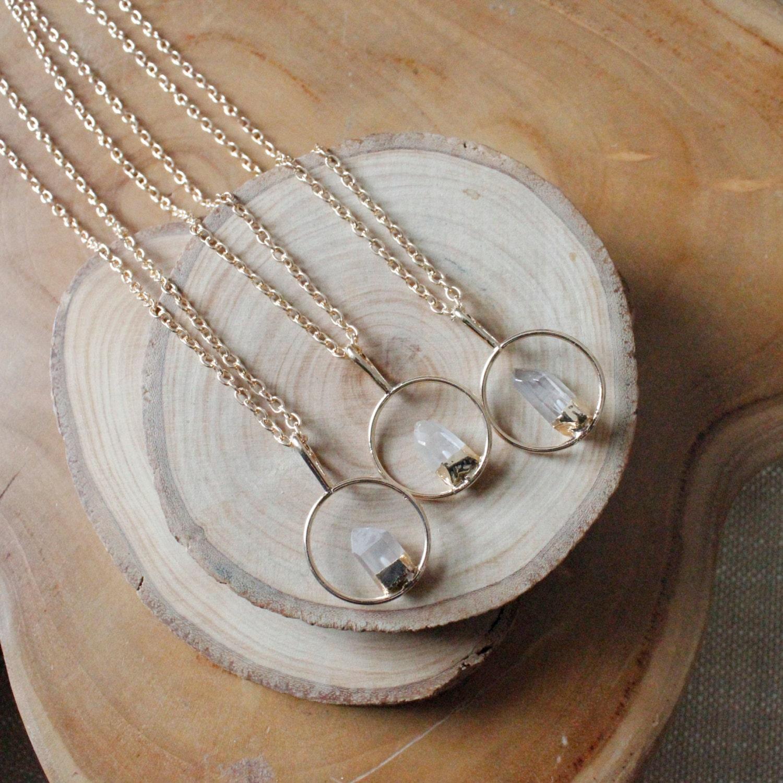 Clear Quartz Point Circle Pendant Necklace/ Gold Circle/ Quartz Fixed Point Necklace/ Gemstone Necklace/ Gold Crystal Quartz Natural Stone