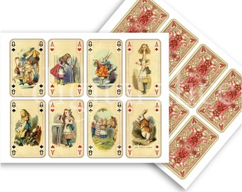 ALICE in WONDERLAND CARDS - Instant Download Paper Crafts Cards - fronts and backs -decoupage,craft squares