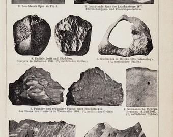 1893 Antique METEORS print, Meteor, METEORITE, original antique astronomy print