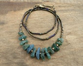 Rough Apatite Necklace, rustic blue green teal raw stone Bohemian or tribal beaded jewelry with gold raw brass