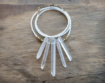 Quartz Crystal Fan Necklace, dainty white and gold rough crystal necklace, modern rustic tribal or Bohemian bead jewelry