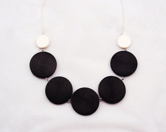 Black and white ivory wood necklace