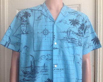 Vintage Hawaiian Shirt Mens Short Sleeve Kai Nani Blue Aloha Map Theme Made in USA Hawaii