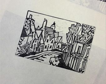 English Village Linocut Original Print