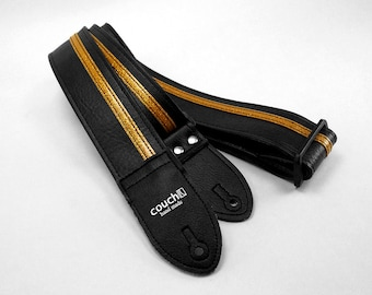 Black With Gold Racing Stripe Guitar Strap Hand Made of Vegan Auto Upholstery Vinyl