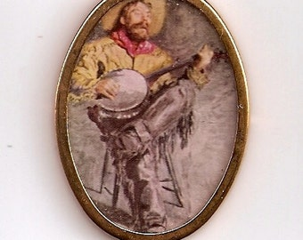 Cowboy Singing by Thomas Eakins - Oval shape gold colored metal frame print Dollhouse Miniature Artwork