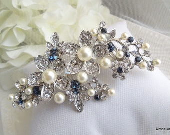 Blue Swarovski Crystal and Pearl Wedding Comb Wedding Hair Accessories Vintage Style Flower and Leaf Rhinestone Bridal Hair Comb RACHEL