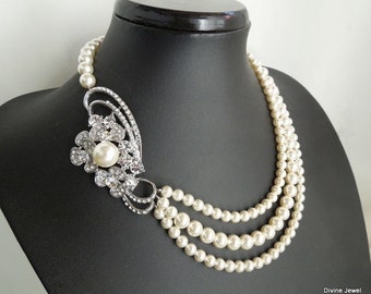 Bridal Pearl Necklace Ivory swarovski Pearls Statement Bridal Necklace Bridal Rhinestone Pearl Necklace Wedding Pearl Necklace GISELLE