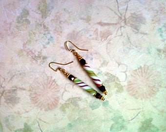 Purple, Green and Pink Striped Earrings (1940)