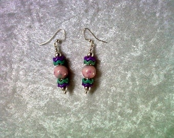 Pink, Purple and Aqua Earrings (1128)