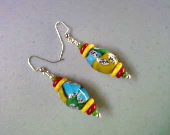 Chunky Blue, Green, Yellow and Red Millifiori Ethnic Style Earrings (1241)