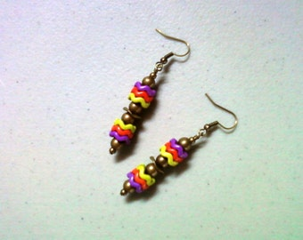 Purple, Orange and Lime Green Earrings (1415)