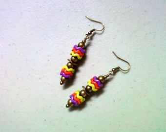 Purple, Orange and Lime Green Earrings (1415)