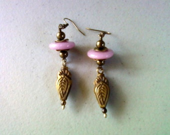 Pink and Brass Ethnic Earrings (1368)