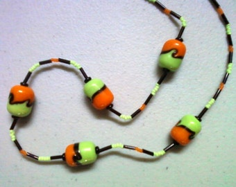Black, Orange and Lime Green Necklace (0856)