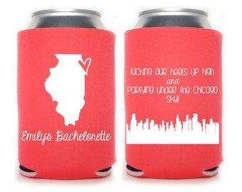 Bachelorette Party Favors - Chicago Bachelorette Personalized Can Coolers, Beer Insulators, Stubby Holders - Any City and State Available