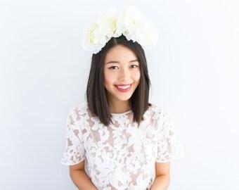 cream ivory wedding headband / flower statement headpiece, hair crown, garden wedding bridal headpiece, statement, lana del rey, spring