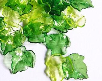 Wholesale 240pcs of Acrylic Leaf Beads, Mix Green
