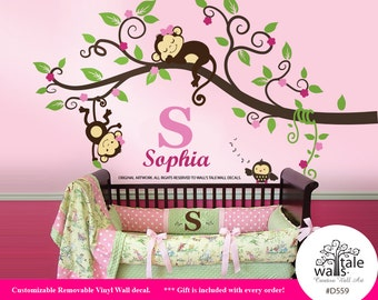 Girl Jungle Monkey Wall Decal, Sticker for nursery wall decor. Monkeys with Name, initial and owl wall decal. Monkeys Tree wall decal -d559