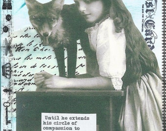 Girl & Fox Paper Collage
