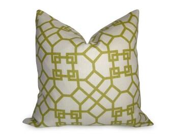 Pelagos Pillow Cover - Decorative Pillow - Lime - Citron - Chartreuse - Green Pillow - Lattice Pillow - Designer Pillow