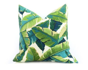 Tropical Palm Leaf Pillow Cover - Large Palm Leaf - TURQUOISE - Green - Dark Green - Light Green - Decorative Outdoor Pillow Cover