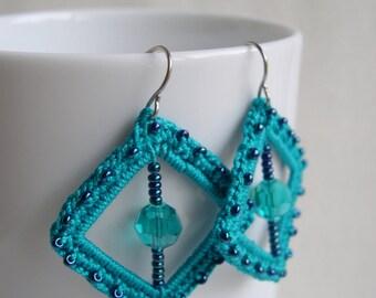 Teal square earrings - Teal Bridesmaid earrings - Teal lace earrings - Bridal earrings - Lace earrings - Lacy trend jewelry