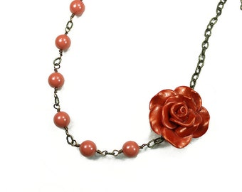 Asymmetrical Orange Rose Cabochon Beaded Necklace - Coral Swarovski Pearls - Filigree - Romantic - Womens Accessories