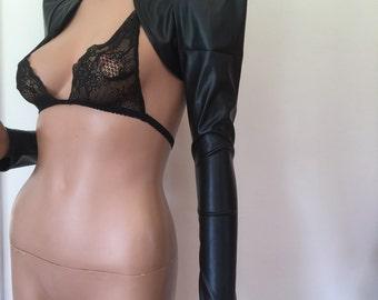 POINTY Holster Bolero Jacket Leatherette Gothic Goth Cosplay Steampunk Black CHRISST