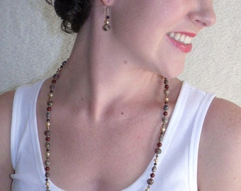 Brown Gemstone Necklace, Freshwater Pearl, Swarovski Elements Fabulous Felinity Necklace