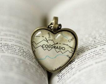 Colorado, Colorado Necklace, Colorado Map Necklace, Jewelry, Necklace, Glass Heart, I Love Colorado Jewelry