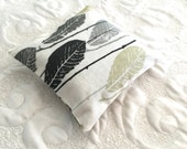 Balsam Fir Sachet - Organic Balsam or Lavender - Balsam Sachet - Modern Eco friendly- Aromatherapy - feather white black gray green print