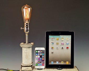 Docking stations and chargers.. Dual Dock with lamp and wall chargers for iPhone, iPod, iPad or Mini. Cottage Rustic. 725.