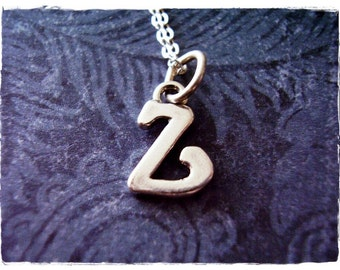 Silver Cursive Z Initial Necklace - Sterling Silver Cursive Initial Z Charm on a Delicate Sterling Silver Cable Chain or Charm Only
