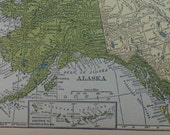 Map of the State of Alaska, with inset of Aleutian Islands - 1929  Map - lovely pastel green & yellow colors