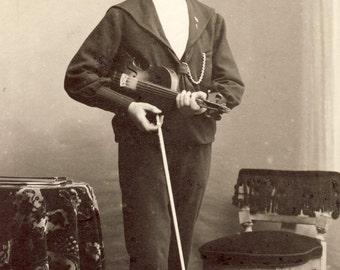 Young DANISH Man with VIOLIN CDV Photo Stubbekjobing Denmark Circa 1890