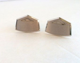 Hickok Silver Tone Minimalist MCM Cuff Links Elegant Mid Century Hickock Cufflinks