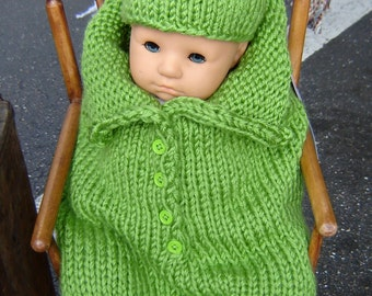 PATTERN Pea in a Pod Baby Sack Cocoon and matching Hat for Newborn-3 months