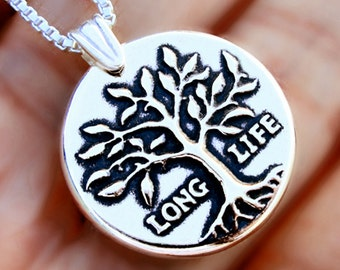 70th anniversary Tree of Life necklace Sterling Silver jewelry Long life Silver necklace Tree jewelry Tree necklace pendant gift  N-158