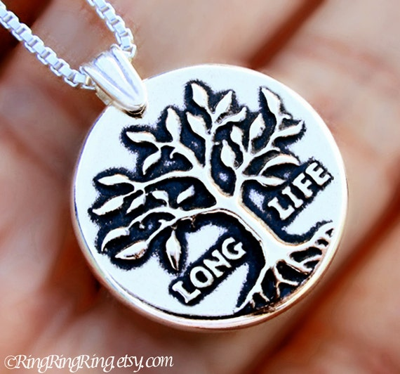 Tree of Life necklace Sterling Silver jewelry pendant Long life Silver necklace Silver pandant Tree jewelry Tree necklace Wax seal N-158