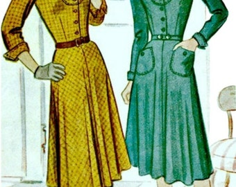 Vintage Sewing Pattern - 1947 Tailored Frock with U-Shaped Bodice Yoke  McCALL 7000