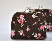 Garden Floral in Brown - Tiny Kiss lock Coin Purse/Jewelry holder