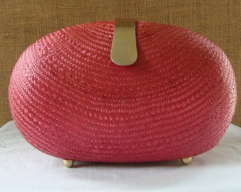 VINTAGE RED STRAW Hand Bag Purse Brass Closure Hand Bag Retro Resort Summer Spring Bag Timeless Classic Straw Purse Sunday Bag Red Straw Bag