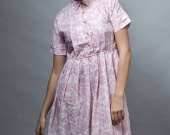 vintage 70s shirtdress pink pleated dress short sleeves M L Petites