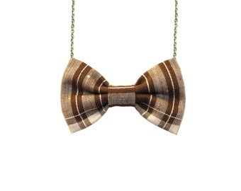 Brown Plaid Bow Tie Necklace, Girls BowTie Accessory, Bow Necklace, Brown Striped Pendant