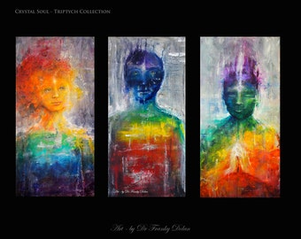 Crystal Soul Triptych. 3 Matted Fine Art Paper Print Collection of Original Paintings Set by Fae Factory Visionary Artist Dr Franky Dolan