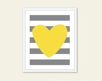 Heart Stripes - Nursery Art Print - Modern Home Decor  - Nursery Wall Art - Yellow and Grey
